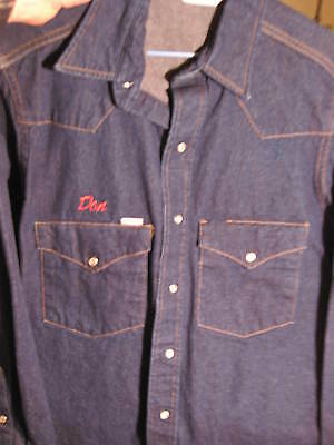 988d73c6dcd VTG Mens Carhartt Blue Denim Western Shirt Pearl Snaps SU008 Medium 15 1 2 X