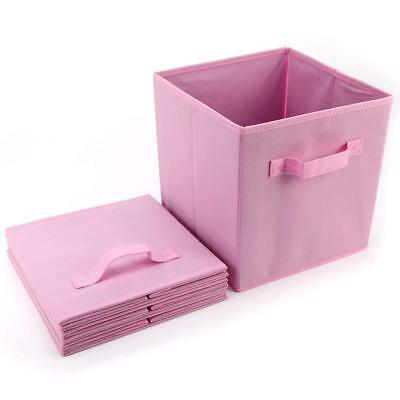 3x Folding Fabric Storage Cube Basket Bins Drawer Container Closet Toys Gray