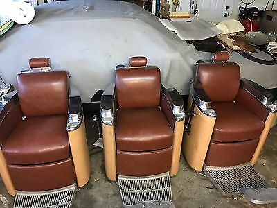 3 Antique Matching Koken President Chair's works perfectly barber shop 1950's