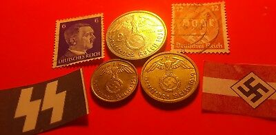 High grade nazi coin lot 5 &10 pfenning 1939-A &SILVER 2 mark 1938-A nazi stamps