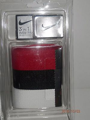 """NEW NIKE 3 IN 1 WEB PACK GOLF BELT - One size fits all up to 42"""" - Multi Colors"""