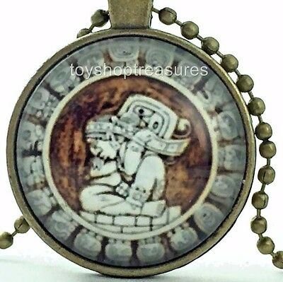 New Vintage Mayan Necklace Mayan Amulet Pendant - Antique Brass j