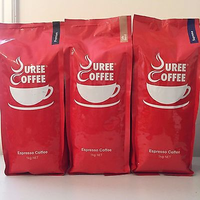 3 x 1 kg Premium, Cafe Blend, Supreme Variety Whole Roasted Beans + Free Grind
