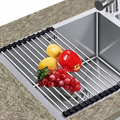 Over The Sink Kitchen Dish Drainer Drying Rack Roll-Up Foldinng Stainless Steel