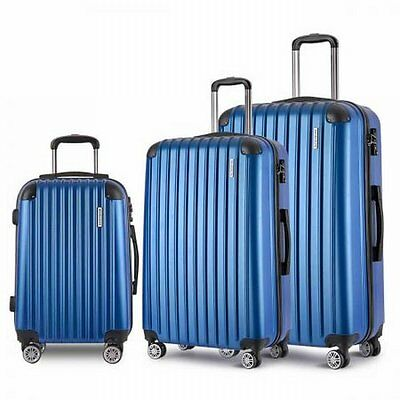 """NEW 3x Durable Hard Shell Travel Luggage 20"""" 24"""" and 28"""" with TSA Lock - Blue"""