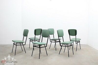 Set 6 sedie anni 50 BBPR design style mid century dining chairs set, chaises