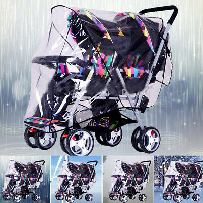 Clear Stroller Rain Cover Weather Pram Baby Infant Double Pushchair Wind Shield