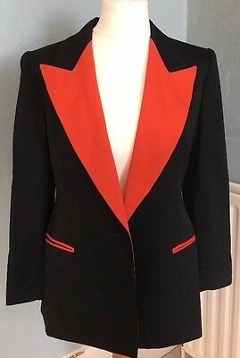 """Vintage French Dinner/evening Jacket Black/red Embroidered Compagnie Ng 40"""""""