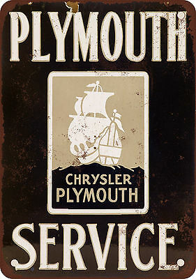 """7"""" x 10"""" Metal Sign - Chrysler Plymouth Service - Vintage Look Reproduction"""