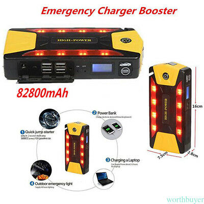 12V DC 82800mAh 4USB Jump Starter Emergency Charger Booster Power Bank Battery
