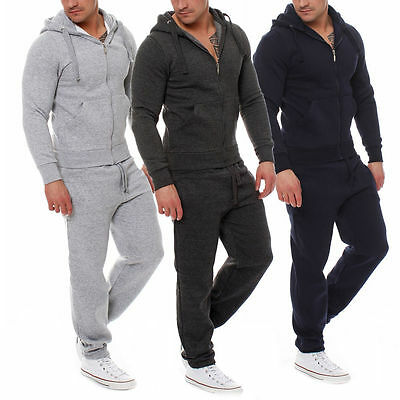 Men Plain Tracksuit Zip Hoodie joggers bottom workout active wear gear gym