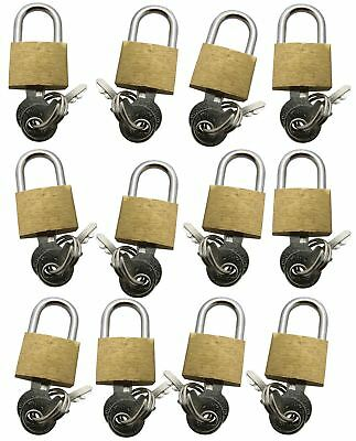 12pc 20mm Brass Padlock Security Luggage Toolbox Sports Bags Gate Suitcase Small