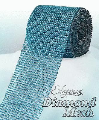 Turquoise Diamante Rhinestone Effect Bling Mesh Cake Trim Ribbon Wedding