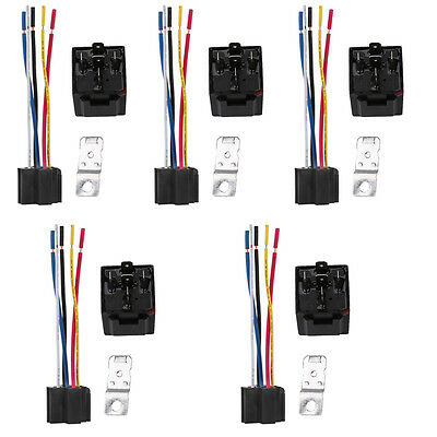5Pcs DC 12V Car Automotive SPDT Relay 5 Pin 5 Wires w/Harness Socket 30/40 Amp