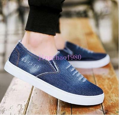 New Men/'s Denim Jeans Casual Loafers Canvas Elastic Slip On Flats Shoes Ch 2017