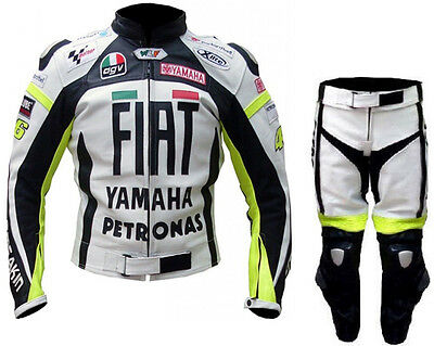 Yamaha Flat Biker Motorcycle Leather Suit Mens Motorbike Leather Jacket Trouser