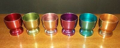 Vintage Retro Set of Six Anodised Harlequin Egg Cups