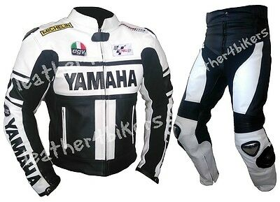 Yamaha Men Racing Biker Motorcycle Leather Suit Motorbike Leather Jacket Trouser