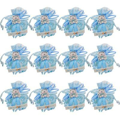 12PCS Baby Shower Gift Favor Little Prince Boy Blue 1St Birthday Party Candy Box
