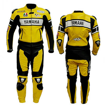 Yellow Yamaha Racing Motorcycle Leather Suit Motorbike Leather Jacket Trouser