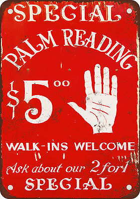 """7"""" x 10"""" Metal Sign - Palm Reading $5.00 - Vintage Look Reproduction"""