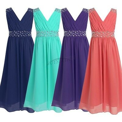 Girl Flower Chiffon Dress Party Formal Wedding Bridesmaid Pageant Prom Kids Gown