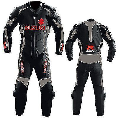 Black Suzuki Motorcycle Leather Suit Moto Gp Motorbike Leather Jacket Trouser