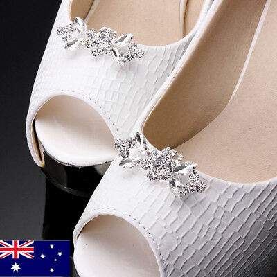 AU 2pcs Sparking Silver Crystal Rhinestone Plated Tone Boots Buckle Shoe Clips