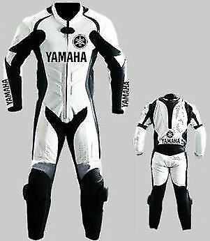 White Yamaha Motorcycle Leather Suit Moto Gp Motorbike Leather Jacket Trouser