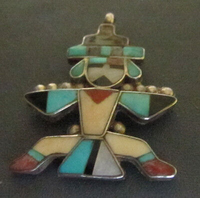 Zuni Knifewing Mosaic Inlay Pendant Turquoise Jet Spondylus Melon Shell MOP 40s