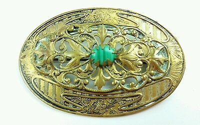 Antique brass art nouveau brooch  Malichite faux? Center  Lot 130