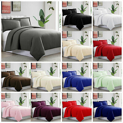 Plain Dyed Duvet Quilt Cover With Pillow Case Or Fitted Sheet Single Double King