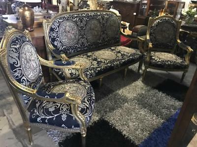 Amazing Victorian Carved Giltwood French Louis Xv  Style 3 Piece Salon Suite