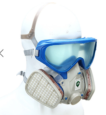 Respirator Gas Mask Goggles Paint Dust Partial Rebreather Airsoft N95 Two Filter