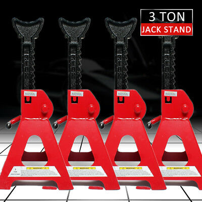 4x Car Jack Stand 3T 3000Kg Adjustable Heavy Duty Lift Hoist Steel Ratchet Tool