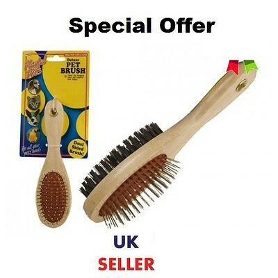 Double Sided Wooden Pet Grooming Brush Groomer Pet Comb Dog Hair Fur Brush