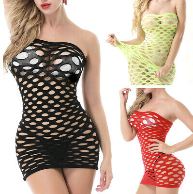 9 Colors Womens-Sexy-Lingerie-Hollow-Body stocking-Dress-Sleepwear-Club-Babydoll