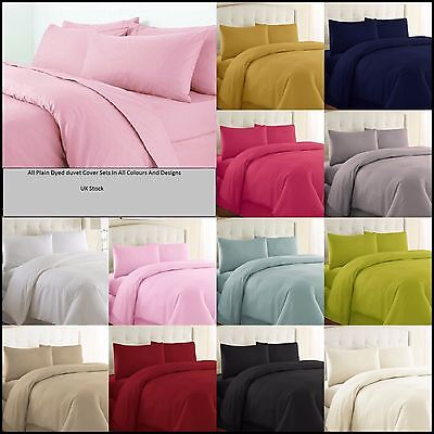 Plain Dyed Reversible Duvet Cover Bedding Set with Pillowcase Single Double King