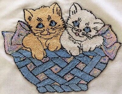 """Charming Vintage Needle Punch Kitty Cats Pillow Cover 21""""x16"""" ~ Nice!"""