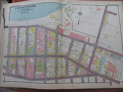 Antique 1927 Atlas Map Of Newark New Jersey Ward 12 Passaic River