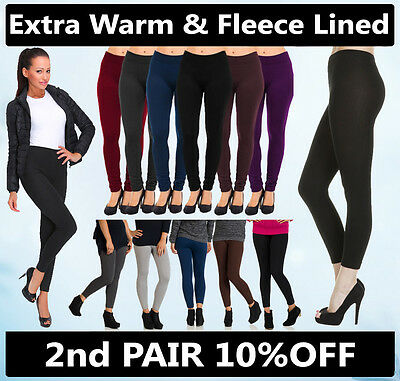 Womens Ladies Fleece Leggings Thermal Warm Thick Full Length