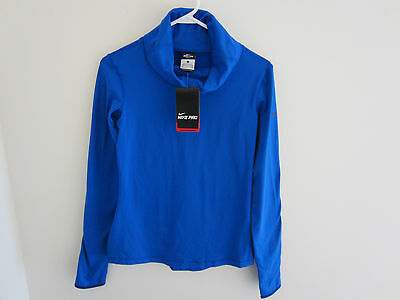 New Nike Womens Pro Hyperwarm Infinity Training Top Shirt 620415 Blue Sz  M $65