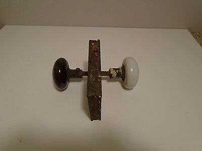 Antique Victorian Brown Swirl & White Porcelain Knobs & Mortise Lock Set