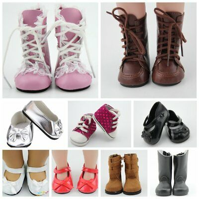 Fashion Doll Shoes Fit 18'' American Girl Doll Vintage Leather Shoes Reborn Doll