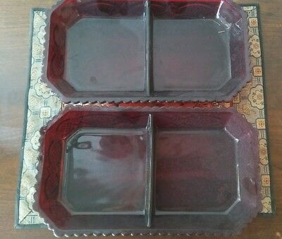 Vintage Avon~The 1876 Cape Cod Collection~2 Condiment Dishes - Ruby Red