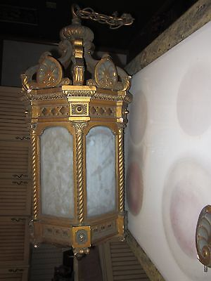 outstanding huge antique light fixture gesso slag glass mica gothic beauty