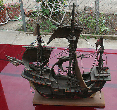 Antique Early Primitive 19th Century Ship Model