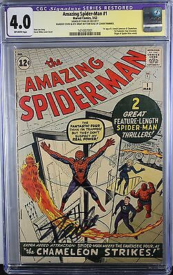 AMAZING PIDER-MAN #1 CGC 4.0 restored SIGNATURE SERIES STAN LEE