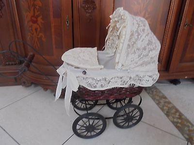 Retro Cane Doll Pram retractable cream lace canopy,liner,suit Doll teddy Display