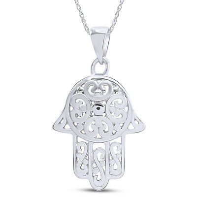 Swirl Filigree Hamsa Hand 14K White Gold Over Pendant Necklace